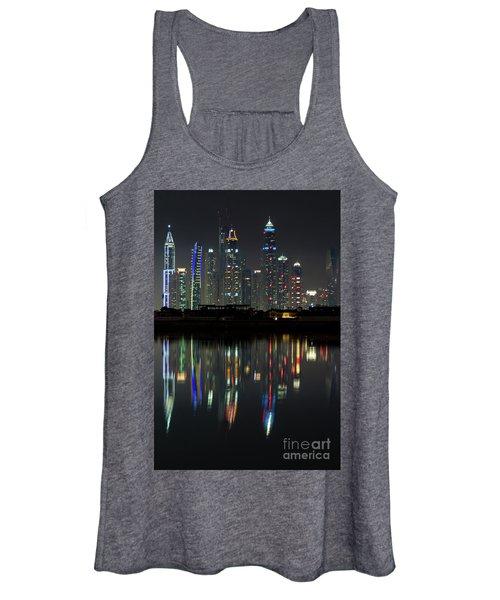 Dubai City Skyline Nighttime  Women's Tank Top