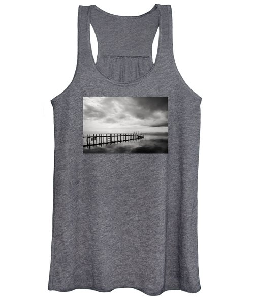 Duck Pier In Black And White Women's Tank Top
