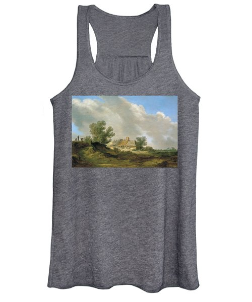 Dune Landscape With Cottage And Figures Women's Tank Top