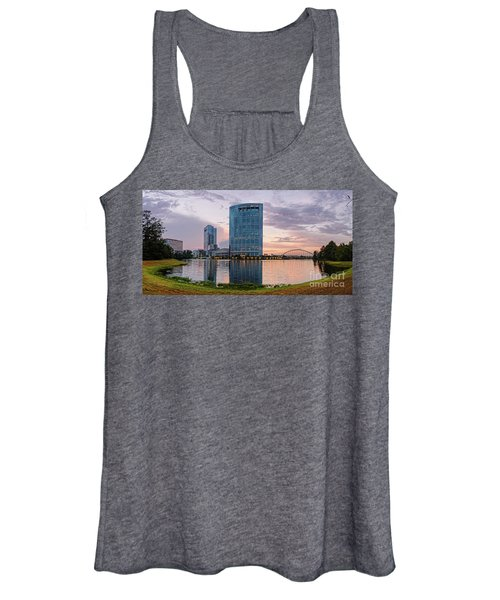 Dusk Panorama Of The Woodlands Waterway And Anadarko Petroleum Towers - The Woodlands Texas Women's Tank Top