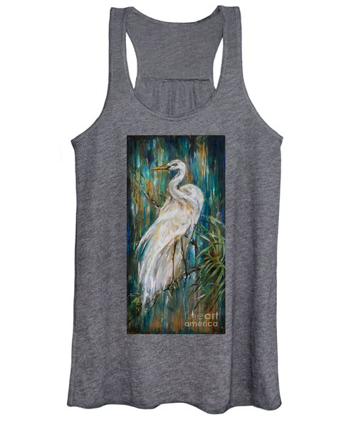 Egret Near Waterfall Women's Tank Top