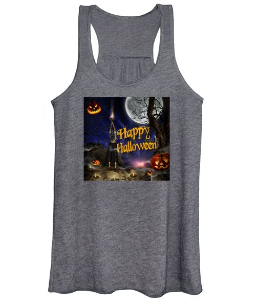 Evocation In Halloween Night Greeting Card Women's Tank Top