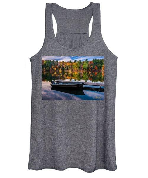 Fishing Boat On Mirror Lake Women's Tank Top