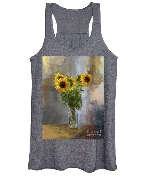 Five Sunflowers Centered Women's Tank Top