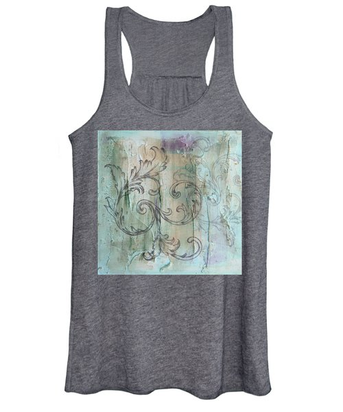 French Country Scroll In Muted Blue Women's Tank Top