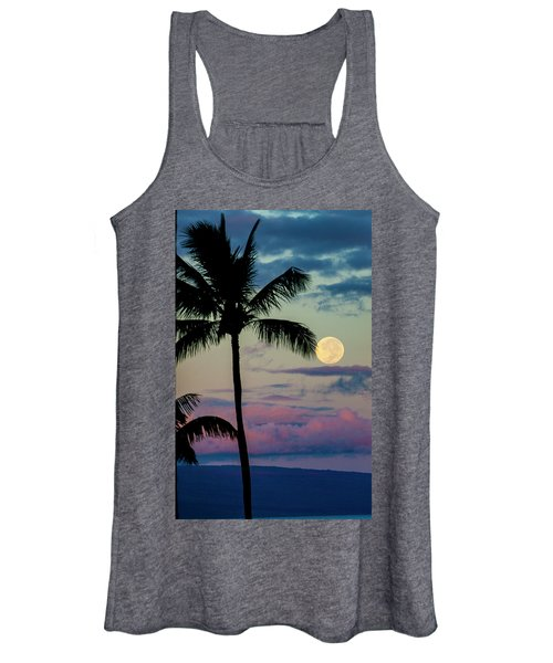 Full Moon And Palm Trees Women's Tank Top