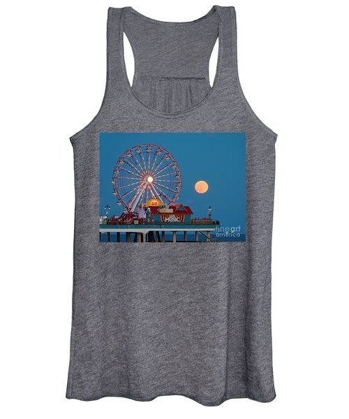 Full Moon Rising Above The Gulf Of Mexico - Historic Pleasure Pier - Galveston Island Texas Women's Tank Top