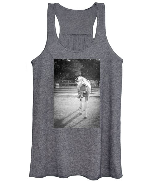 Funny Horse In Black And White Women's Tank Top
