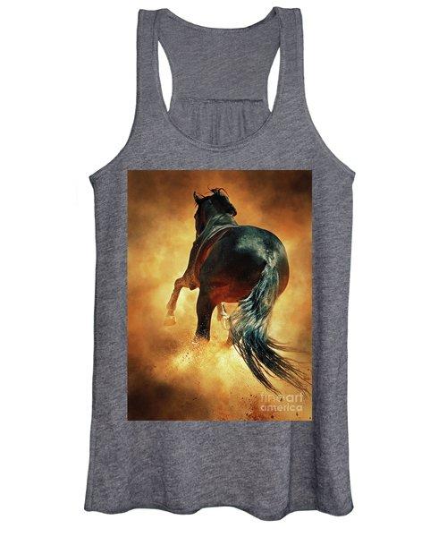 Galloping Horse In Fire Dust Women's Tank Top