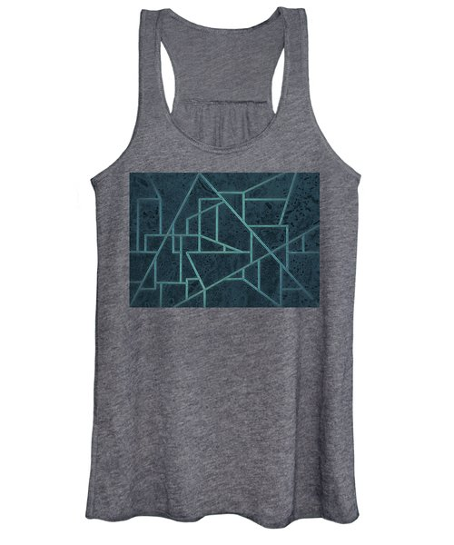 Geometric Abstraction In Blue Women's Tank Top
