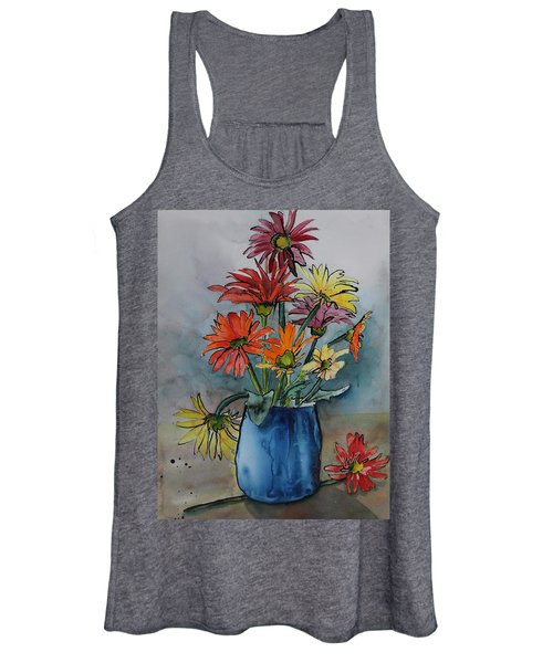 Gerberas In A Blue Pot Women's Tank Top
