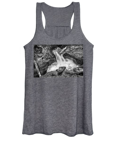 Glacier National Park's Avalanche Gorge In Black And White Women's Tank Top