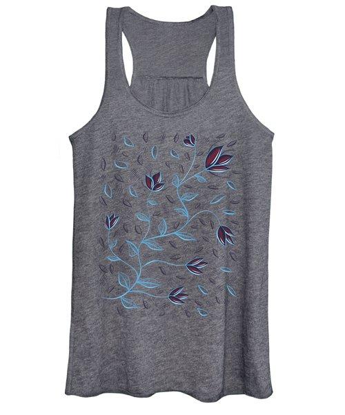 Glowing Blue Abstract Flowers Women's Tank Top