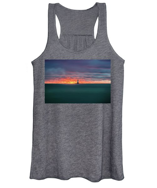 Glowing Sunset On Lake With Lighthouse Women's Tank Top
