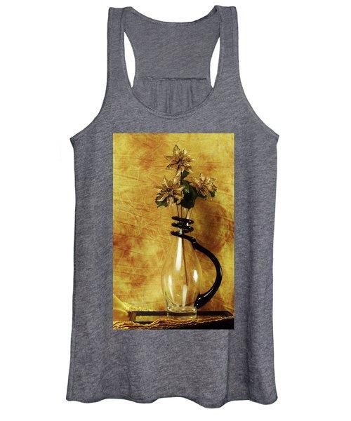 Gold Flowers In Vase Women's Tank Top