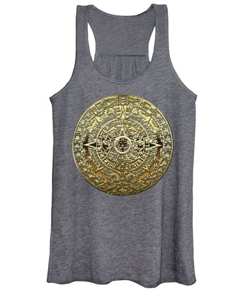 Gold Mayan-aztec Calendar On Brown Leather Women's Tank Top