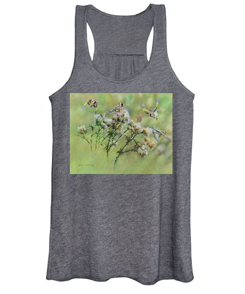 Goldfinches On Thistle Women's Tank Top