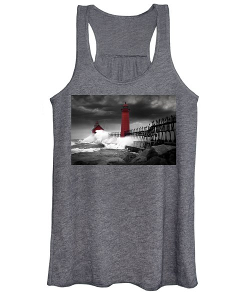Grand Haven Lighthouse In A Rain Storm Women's Tank Top