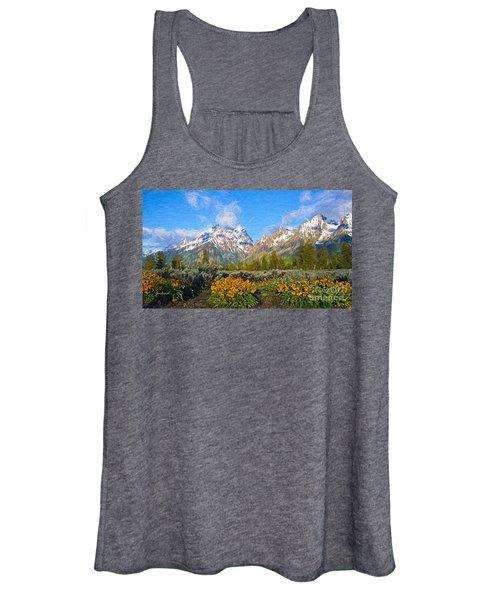 Grand Teton With Flowers Women's Tank Top