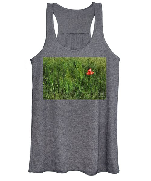 Grassland And Red Poppy Flower 2 Women's Tank Top