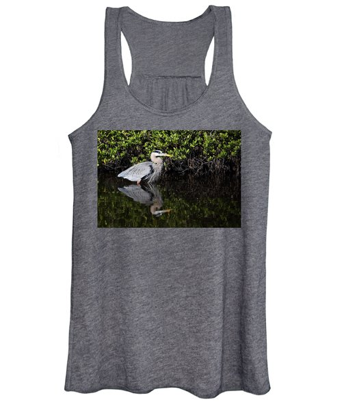 Great Blue Heron With Reflection Women's Tank Top