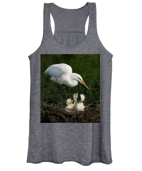 Great Egret With Chicks Women's Tank Top