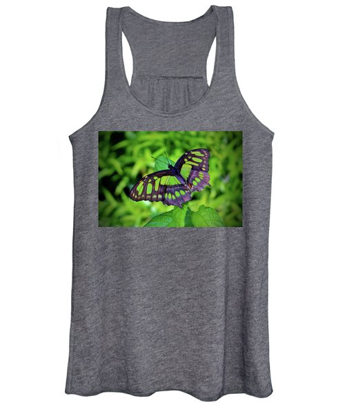 Green And Black Butterfly Women's Tank Top