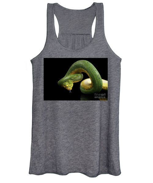 Green Tree Python. Morelia Viridis. Isolated Black Background Women's Tank Top