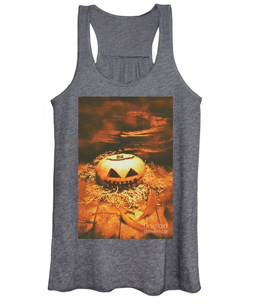 Halloween In Fall. Still Life Pumpkin Head Women's Tank Top