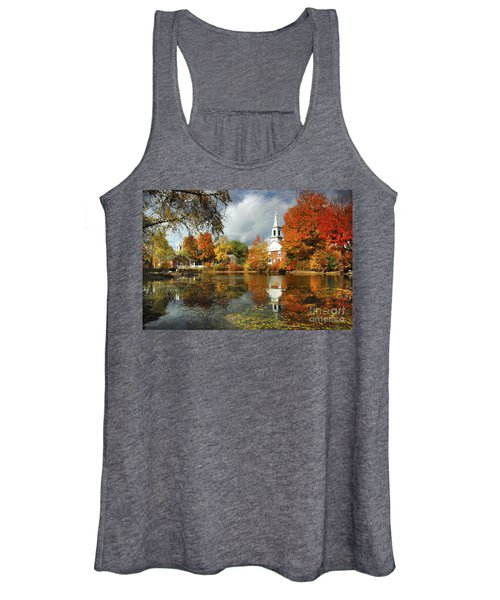 Harrisville New Hampshire - New England Fall Landscape White Steeple Women's Tank Top