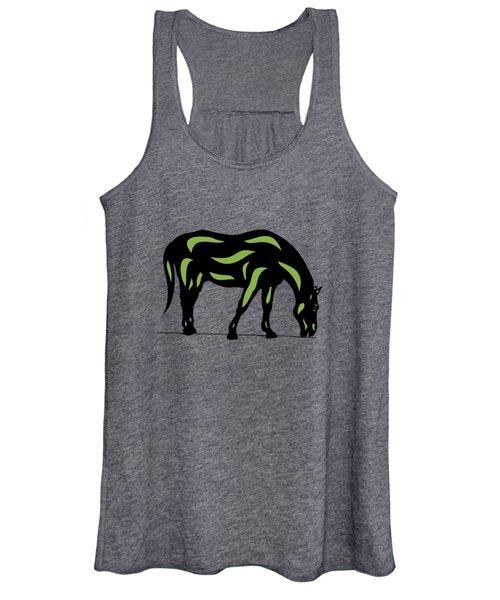 Hazel - Pop Art Horse - Black, Greenery, Purple Women's Tank Top
