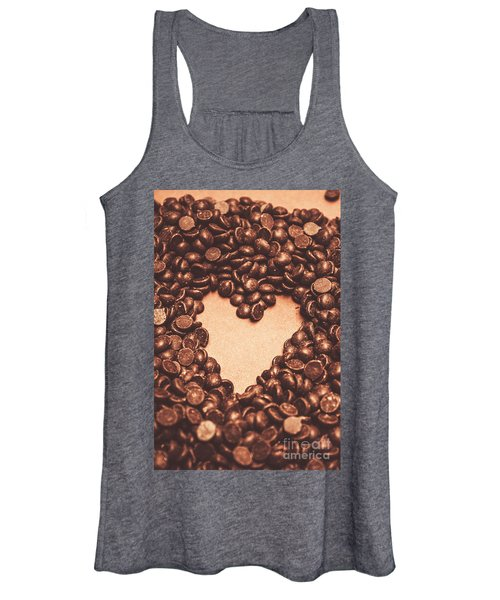 Hearts And Chocolate Drops. Valentines Background Women's Tank Top