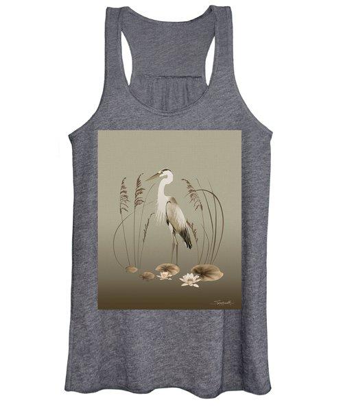 Heron And Lotus Flowers Women's Tank Top