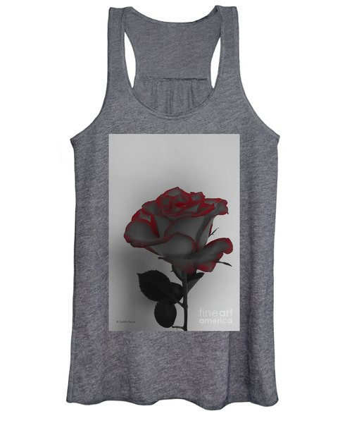 Hints Of Red- Single Rose Women's Tank Top