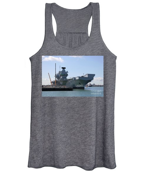 Hms Queen Elizabeth Aircraft Carrier At Portmouth Harbour Women's Tank Top
