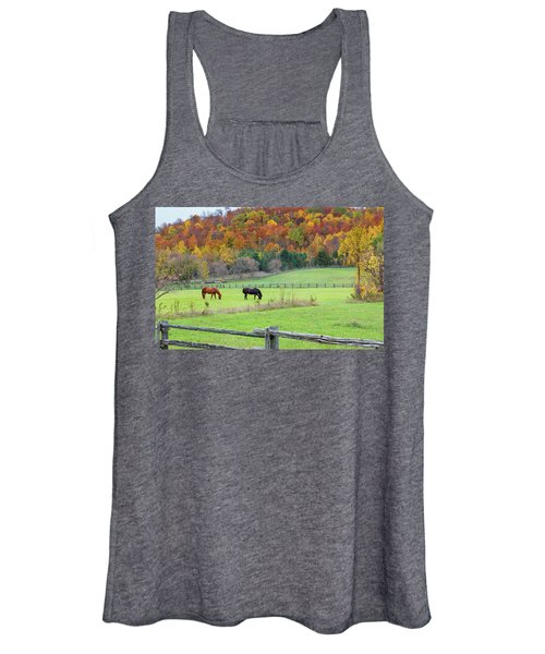 Horses Contentedly Grazing In Fall Pasture Women's Tank Top