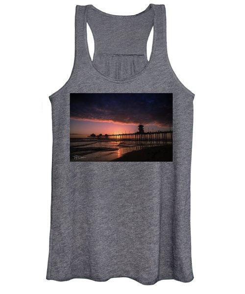 Huntington Pier At Sunset Women's Tank Top
