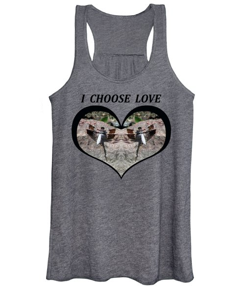 I Chose Love With Dragonflies On A Rock Women's Tank Top