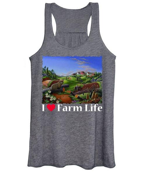 I Love Farm Life T Shirt - Spring Groundhog - Country Farm Landscape 2 Women's Tank Top
