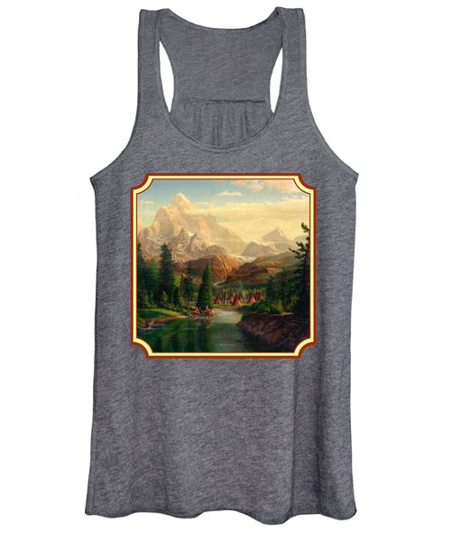 Indian Village Trapper Western Mountain Landscape Oil Painting - Native Americans -square Format Women's Tank Top