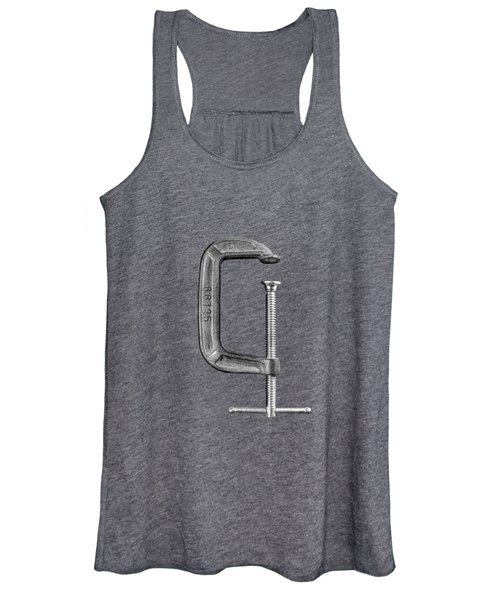 Iron C-clamp On Plywood 68 In Bw Women's Tank Top
