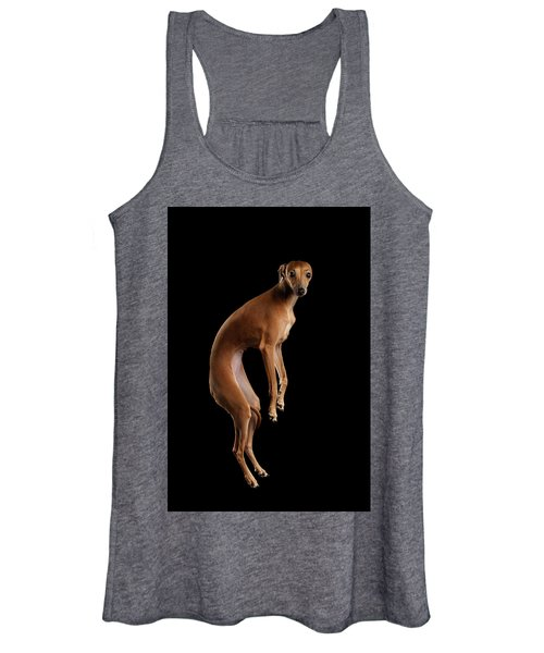 Italian Greyhound Dog Jumping, Hangs In Air, Looking Camera Isolated Women's Tank Top