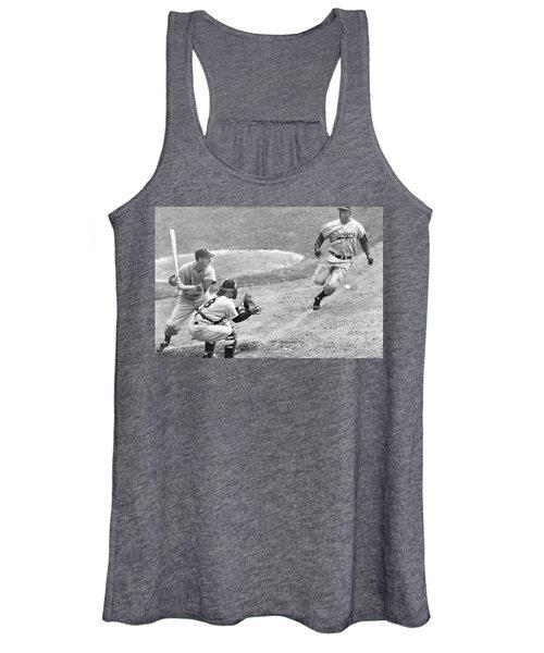 Jackie Robinson Stealing Home Yogi Berra Catcher In 1st Game 1955 World Series Women's Tank Top
