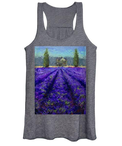 Just Beyond - Plein Air Lavender Landscape Impressionistic Painting Women's Tank Top