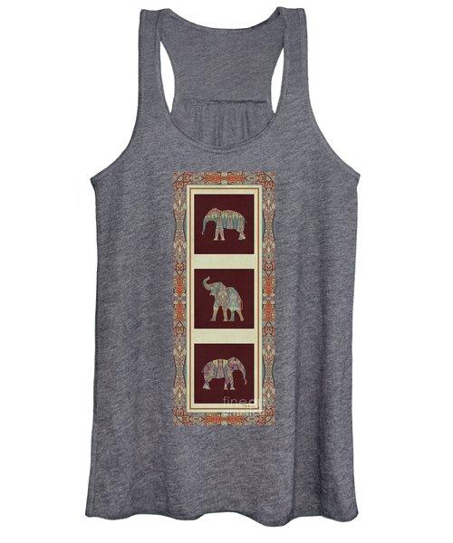 Kashmir Elephants - Vintage Style Patterned Tribal Boho Chic Art Women's Tank Top