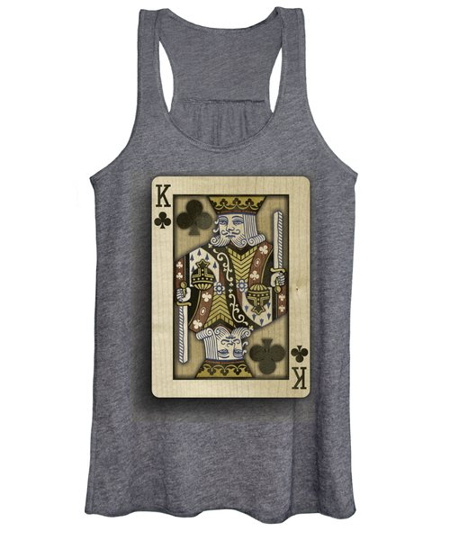 King Of Clubs In Wood Women's Tank Top