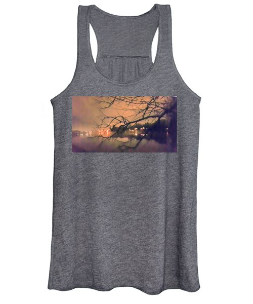 Foggy Lake At Night Through Branches Women's Tank Top