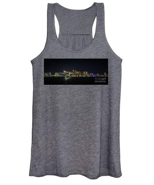 Large Panoramic Of Downtown Boston At Night Women's Tank Top