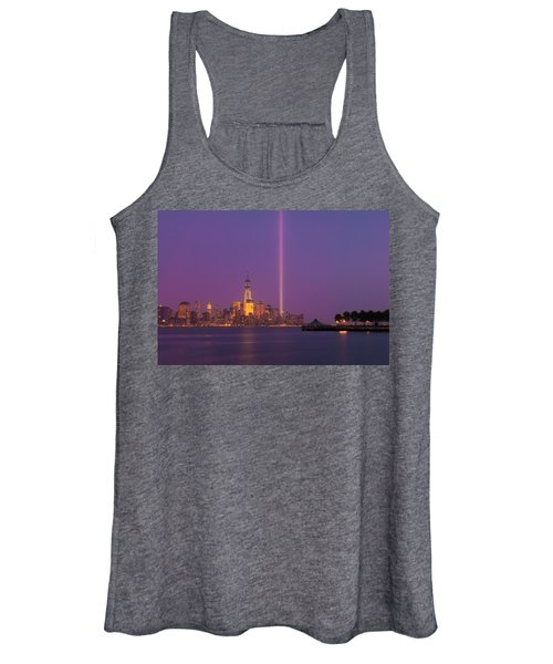 Laser Twin Towers In New York City Women's Tank Top