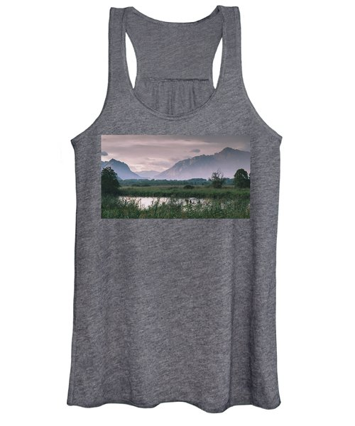 Leisure Boat On River Adda In Northern Italy, Close To Lake Como - Reflection Of Italian Alps Women's Tank Top